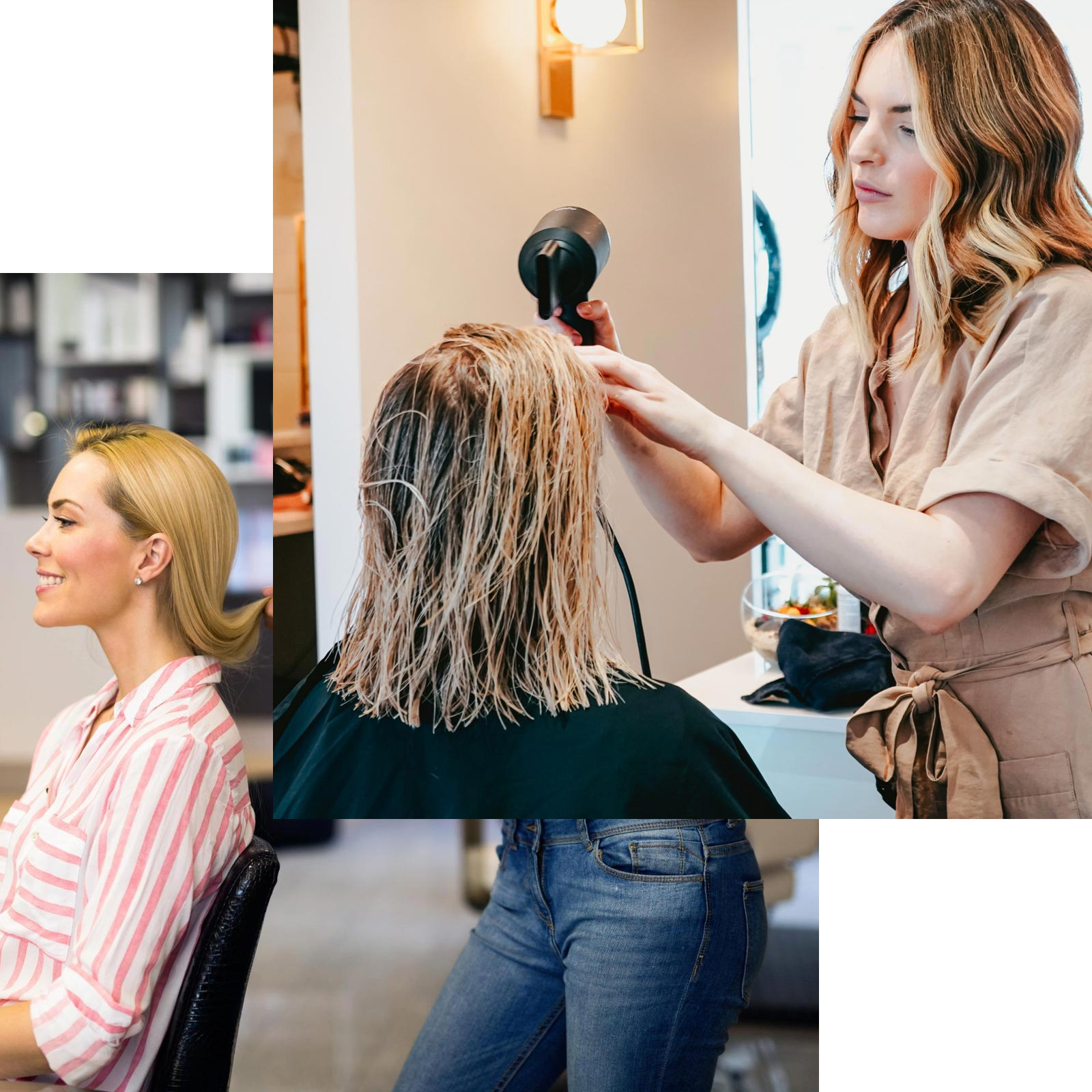 Hairdresser with Brown Hair and Blonde Highlights Wearing a Brown Dress Blow Drying Customer's Wet Hair with Blonde Streaks